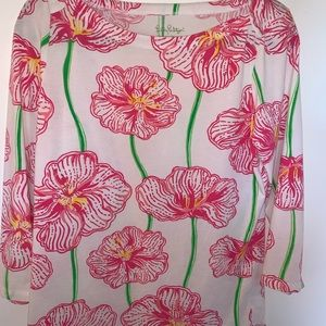 Lilly Pulitzer M White Pink Green Floral Knit Top